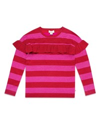 Kate Spade Ruffle Trim Metallic Stripe Knit Sweater Multi