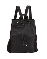 Neiman Marcus Faux Leather Drawstring Bucket Backpack Black Blac