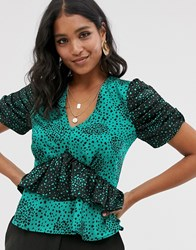 River Island Frill Layer Blouse In Green Print