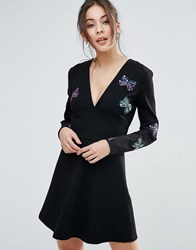 Little White Lies Butterfly Embroidered Skater Dress Black