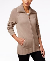 Karen Scott Zip Front Cardigan Only At Macy's Chestnut Heather