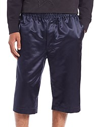 Alexander Mcqueen Cotton And Silk Shorts Navy