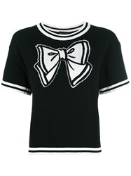 Boutique Moschino Bow Knitted T Shirt Black
