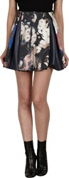 Thakoon Leather Inset Pleated Mini Skirt Black Size 2