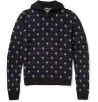 Raf Simons Patterned Zip Collar Merino Wool Sweater