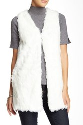 Romeo And Juliet Couture Long Faux Fur Vest Beige