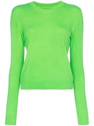 The Elder Statesman Billy Cropped Knitted Cashmere Jumper Green
