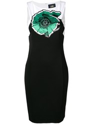Class Roberto Cavalli Embroidered Floral Midi Dress Black
