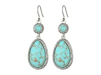 Lucky Brand Turquoise Pave Drop Earrings Silver Earring