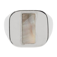 Maison Martin Margiela Silver Mother Of Pearl Signet Ring
