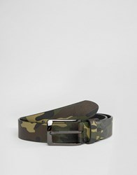 Smith And Canova Camo Print Leather Belt Green
