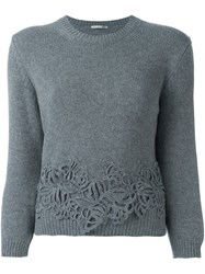 Ermanno Scervino Floral Applique Jumper Grey
