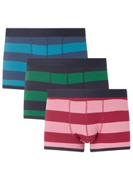 John Lewis Rugby Stripe Trunks Pack Of 3 Blue Green Pink