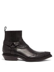 Balenciaga Santiag Harness Leather Western Boots Black