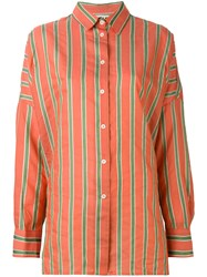 Hache Striped Shirt Women Silk Cotton Linen Flax Viscose 40 Yellow Orange