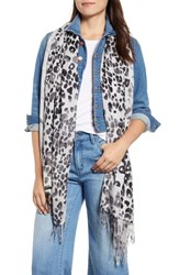 Nordstrom Tissue Print Wool And Cashmere Wrap Scarf Black Color Cat