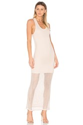Monrow Mesh Tank Dress Dusty Pink Beige
