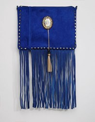 Glamorous Fringe Detail Cross Body Bag With Western Fastening Royal Blue