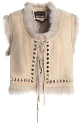 Roberto Cavalli Shearling Trimmed Suede Gilet Peach
