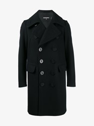 Dsquared Virgin Wool Blend Double Breasted Pea Coat Navy