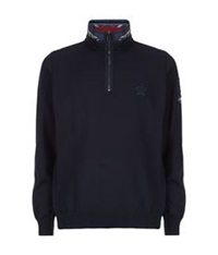 Paul And Shark Admiral's Tartan Trim Zip Neck Sweater Navy