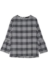 Hatch The Madeleine Plaid Cotton Flannel Top Charcoal