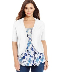 Charter Club Plus Size Elbow Sleeve Cropped Bolero Cardigan Bright White