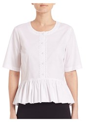 Saks Fifth Avenue Collection Ruffle Hem Blouse White