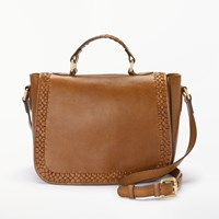 And Or Isabella Leather Whipstitch Saddle Bag Tan