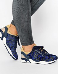 Le Coq Sportif Navy Floral Print Pony Hair R Xvi Trainers Navy