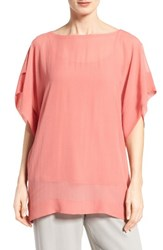 Eileen Fisher Women's Bateau Neck Silk Boxy Top Coral