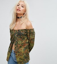 Milk It Vintage Off Shoulder Camo Festival Shirt Green