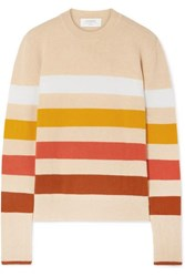 La Ligne Aaa Candy Striped Wool And Cashmere Blend Sweater Cream