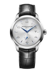 Baume And Mercier Clifton Automatic Stainless Steel And Alligator Strap Watch Silver Black
