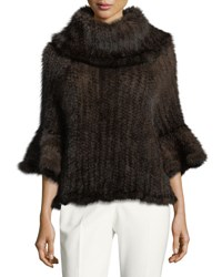 Adrienne Landau Knit Fur Bell Sleeve Poncho Brown