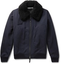 Connolly Goodwood Shearling Trimmed Wool Jacket Blue
