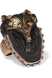 Valentino Burnished Gold Plated Ebony Ring Gold
