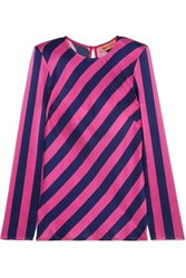 Maggie Marilyn I Wish You Well Open Back Striped Silk Satin Top Fuchsia