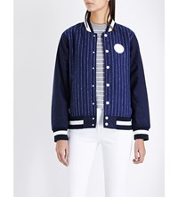 Chocoolate Striped Shell Baseball Jacket Navy