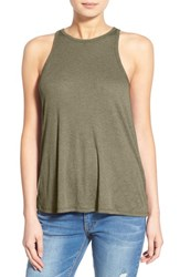 Women's Sun And Shadow Rib Knit Tank Olive Burnt