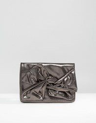 Asos Soft Bow Clutch Bag Pewter Grey