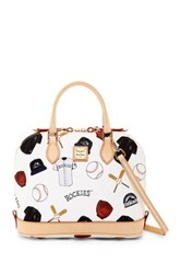 Dooney And Bourke Rockies Zip Zip Satchel White