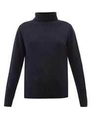Margaret Howell Ribbed Roll Neck Brushed Cashmere Sweater Navy
