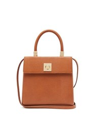 Sparrows Weave The Classic Lizard Embossed Leather Top Handle Bag Tan