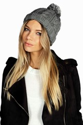 Boohoo Rosie Chunky Knit Bobble Hat Grey