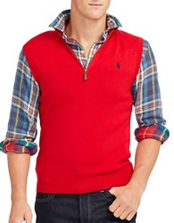 Polo Ralph Lauren Half Zip Supima Cotton Vest Red
