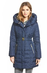 Women's Kensie Belted Hooded Down And Feather Fill Coat Navy