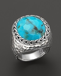 John Hardy Women's Batu Palu Silver Large Oval Ring With Turquoise Silver Turquoise