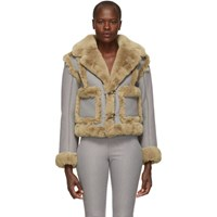 Opening Ceremony Reversible Navy And Brown Fur Insomnia Jacket