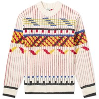 Kenzo Lambswool Peruvian Fair Isle Knit White